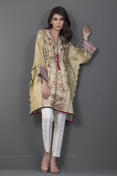Show details for Cotton net digitally printed poncho Beautiful Casual Dresses, Stylish Dresses For Girls, Stylish Dress Designs, Designs For Dresses, Simple Pakistani Dresses, Pakistani Dress Design, Indian Dresses, Tunic Designs, Kurta Designs Women
