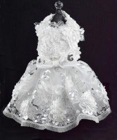 White Flowered Dog Harness Dress