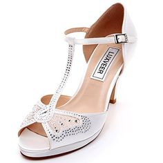 00eb0ed11 LUXVEER Bridal Shoes with Silver Rhinestone and Lace Butt... https