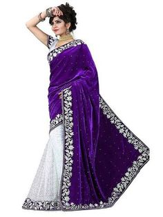 OMSTARS-Purple Color Rasal Net Saree-MNS-02