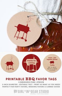 DIY Printable BBQ Favor Tags / 2 inch circles #WeddingFavors #RehearsalDinner