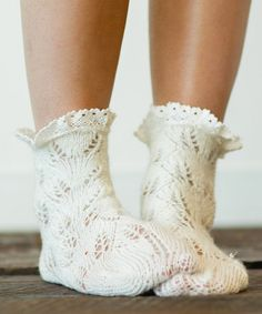 Another great find on #zulily! Ivory Lace Trim Knit Ankle Socks #zulilyfinds