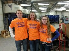 Four Oskaloosa High School students wore these orange shirts to promote Healthy Relationships as part of Teen Dating Violence Awareness Month. They answered questions that were asked throughout the school day and also 'awarded' other students whom wore the color orange with pride on February 11th. Pictured: Austin Asher, Brittany McQueen, and Madison Stewart