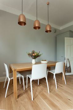 Charming Copper Pendant Light home designing tips Traditional Dining Room South West home insurance copper copper lampshades copper pendants farrow and ball granite grey blue grey kitchen Shaker kitchen white chairs white dining chairs white kitchen wood flookring - Decorcology.com