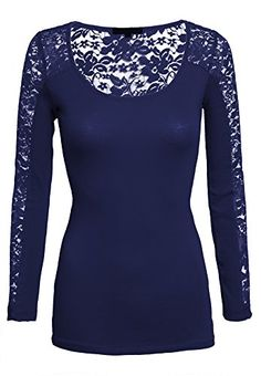 Womens Casual Scoop Neck Lace Inset Long Sleeve Comfort Slim Fit Fashion Top -- Click image for more details.