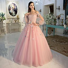 Formal+Evening+Dress+Ball+Gown+Off-the-shoulder+Floor-length+Lace+/+Tulle+with+Flower(s)+/+Lace+/+Side+Draping+–+USD+$+199.99