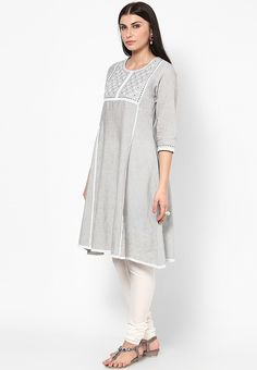 Grey Embroidered Kurta over white Churidar