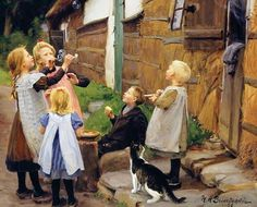 H. A. Brendekilde - Sæbebobler (1906) -