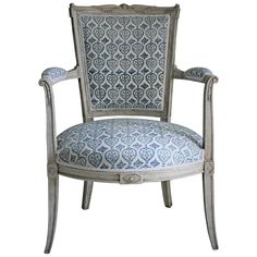 A little jewel.  Late 19th c. French Empire Style Painted Armchair in French-Indie Fabric | From a unique collection of antique and modern armchairs at https://www.1stdibs.com/furniture/seating/armchairs/