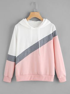 2019 Autumn Chic Spell Color Patchwork Hoodies Pullover Loose Casual Hooded Sweatshirt Streetwear Pink One Size Fashion Mode, Teen Fashion Outfits, Mode Outfits, Girl Outfits, Style Fashion, Trendy Hoodies, Cool Hoodies, Hoodie Sweatshirts, Sweatshirt Outfit