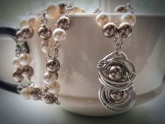 Silver and pearl wirework necklace Abstract by HollyODesigns, $70.00