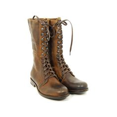 Zeha Berlin 348d.7 ($460) ❤ liked on Polyvore featuring shoes, boots, footwear, women, mid-calf boots, mid calf military boots, laced boots, mid calf combat boots, leather upper boots and lacing combat boots