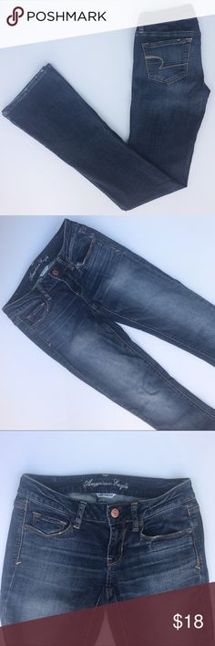 "AE Dark Skinny Kick Boot Cut Jeans Size 4 X-Long American Eagle Dark Wash Stretch Skinny Kick Boot Cut Jeans. Size 4 X-Long. Waist measures 14"", inseam measures 33"". Excellent preowned condition. American Eagle Outfitters Jeans Boot Cut"