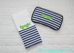 d63d77f8397 Boutique Style Burp Cloth and Travel Wipes Case Set - Gator - Navy and green