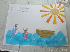 Jesus & Peter Walk on Water Craft – Ministry 2 Kids Water Crafts Preschool, Preschool Bible Lessons, Vbs Crafts, Church Crafts, Camping Crafts, Sunday School Crafts For Kids, Bible School Crafts, Bible Crafts For Kids, Sunday School Activities