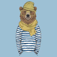 Funny bear dressed up in frock