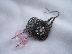 Elegant Brushed Silver and Rhinestone Earrings by belleonabudget, $9.00