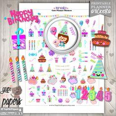Birthday Stickers, Planner Stickers, Happy Birthday Stickers, Erin Condren, Kawaii Stickers, Planner Accessories, Happy Birthday, Gift