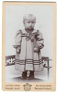 Vintage cabinet card of girl in sailor dress, Atelier Koehler, Germany