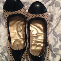 Shoes Navy/beige polka dot ballet flats. Worn once. Excellent condition Shoes Flats & Loafers