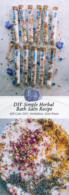 DIY Simple Herbal Bath Salts Recipe is a super easy do-it-yourself mixture that helps add a little magic to your bath along with replenishing you while soaking! Bath Recipes, No Salt Recipes, Spiritual Bath, Bath Salts Recipe, Diy Simple, Easy Diy, Diy Christmas Gifts, Homemade Beauty, Making Ideas