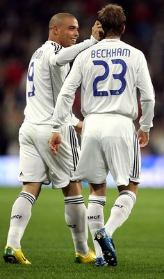 s David Beckham celebrates his goal against Ecija with eam mate Ronaldo during the King?s Cup match at the Santiago Bernabeu Stadium. AFP PHOTO/ Bru Garcia (Photo credit should read BRU GARCIA/AFP/Getty Images) Real Madrid Club, Real Madrid Football Club, World Football, Real Madrid Champions League, David Beckham Football, Uefa Champions, Football Photos, Manchester United Football, Cristiano Ronaldo