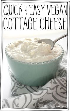 Quick & Easy Vegan Cottage Cheese! Takes less than 10 minutes to make and only 6 ingredients for this healthy, dairy-free recipe.