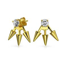 Bling Jewelry Sterling Silver Spiked Modern CZ Earring Jackets Gold Plated -- Read review @ http://www.amazon.com/gp/product/B00TEBT1XI/?tag=ilikeboutique09-20?uv=040716022551