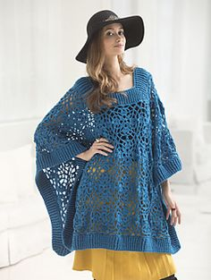 Lacy Poncho - free crochet pattern by Vladimir Teriokhin / Lion Brand Yarns. Free registration may be required.