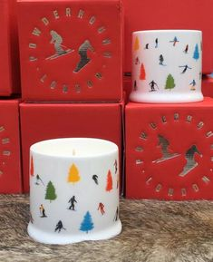 Use a Tree Skiing Luxury Scented Candle to decorate your Christmas table or romanticise an evening in the hot-tub. Perfect as cool ski gifts for loved-ones! Alpine Tree, Red Gift Box, Skiers, Egyptian Cotton, Candle Making, Quality Time, Scented Candles, Bone China, Screen Printing