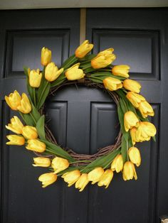 Yellow tulip spring wreath.