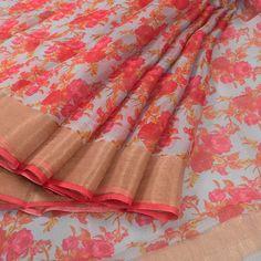 Pink Hand Printed Kota Silk Saree With Floral Motifs & Net Zari Border 10011015 - AVISHYA.COM