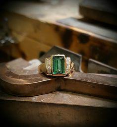 Rod Stelter - Jeweler Benbrook TX Green tourmaline with diamonds. Original design by the Rod Stelter - Jeweler crew.