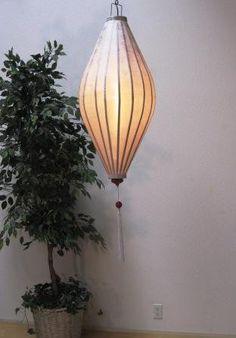Silk and Bamboo Chinese Lantern 4' -- White Oval