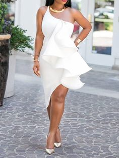 Mid-Calf Oblique Collar Sleeveless Date Night/Going Out Plain Dress Ladies Day Dresses, Prom Dresses, Summer Dresses, Cheap Dresses, Casual Dresses, Plain Dress, White Dress, Dress Outfits, Fashion Dresses
