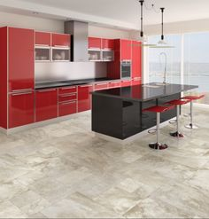 Elegant Kitchen Decorations In Hot Red Color : Fabulous Red Kitchen Decoration with Impressive Black Kitchen Island and Two Unique Hanging Lamp also High Gloss Red Acrylic Kitchen Cabinet and Three Red Bar Stool Red Kitchen Tiles, Red Kitchen Decor, Kitchen Colors, Kitchen Interior, Kitchen Decorations, Ikea Kitchen, Kitchen Ideas, Red Cabinets, Acrylic Cabinets