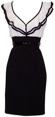 Black & White Chiffon Ruffle Dress