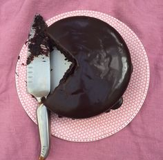 Chocolate cake on paper plate & pink tablecloth