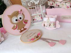 Kit maternidade Corujinha rosa com bege