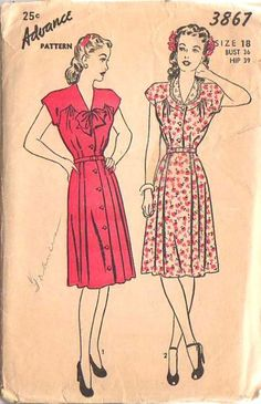 1945. Day or evening dress buttons fully down the front or may be made shirtwaist style; has short sleeves cut in one with the uniquely shaped yoke that continues around to the back. Bodice joins gored skirt at the waistline; pleats are stitched from the hips and release to the hemline. Smooth front panel. V neck has optional eyelet trimmed collar.    Love their hair!