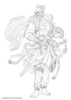 Sketch Tattoo Design, Tattoo Sketches, Tattoo Designs, Samurai, Ink, Tattoos, Illustration, Artwork, Core