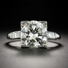 3.29 Carat Diamond Art Deco Engagement Ring - GIA L-VS1 - Vintage Engagement Rings