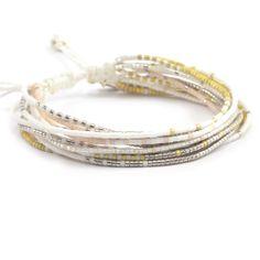 Chan Luu - White Mix Multi Strand Bracelet on White Cord, $95.00 (http://www.chanluu.com/bracelets/white-mix-multi-strand-bracelet-on-white-cord/)
