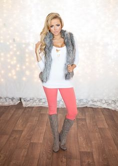 Fur Vest. Seamless To. Coral Jeggings. Boots. Modern Vintage Boutique 2014 Best fashion Outfits http://cdn2.bigcommerce.com/server5100/wxfmbm/products/6301/images/42210/IMG_3068_1577__47236.1417557389.501.751.jpg?c=2