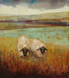 ♞ Artful Animals ♞ bird, dog, cat, fish, bunny and animal paintings - Rebecca Kinkead Sheep Paintings, Animal Paintings, Art Maori, Sheep Art, Cow Art, Painting Inspiration, Painting & Drawing, Landscape Paintings, Watercolor Art