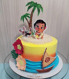 Luau Birthday Cakes, Brithday Cake, Hawaiian Birthday, Birthday Ideas, Moana Themed Party, Moana Birthday Party, Mohana Cake, Moana Party Decorations, Festa Moana Baby
