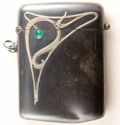 Art Nouveau Sterling & Emerald Match Safe