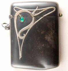 Art Nouveau Sterling  Emerald Match Safe