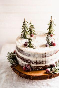 Holiday Baking, Christmas Desserts, Christmas Baking, Winter Desserts, Holiday Cakes, Mascarpone Cream Cheese, Cream Cheese Frosting, Nake Cake, Winter Wonderland Cake