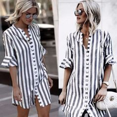 30c58275b66 Sabrina White Striped Long Button Shirt - Happy Hippie Boho Summer Dresses  2018 - Use Code